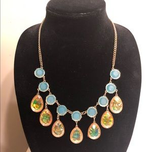 Turquoise and peach statement necklace